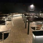 Outdoor patio area lighting design at the Instow Arms at night